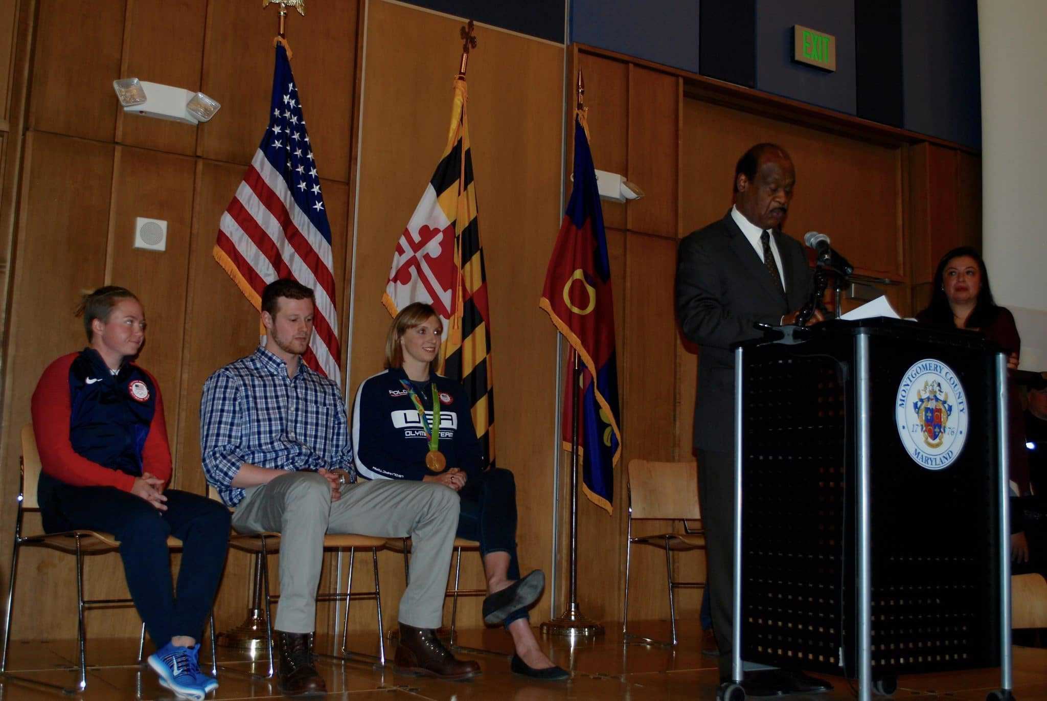 Four Olympians honored during ceremony in Silver Spring - Four Montgomery County Olympians who will be the first inductees into a new county sports hall of fame were honored Monday night in a ceremony at the Silver Spring Civic Building.