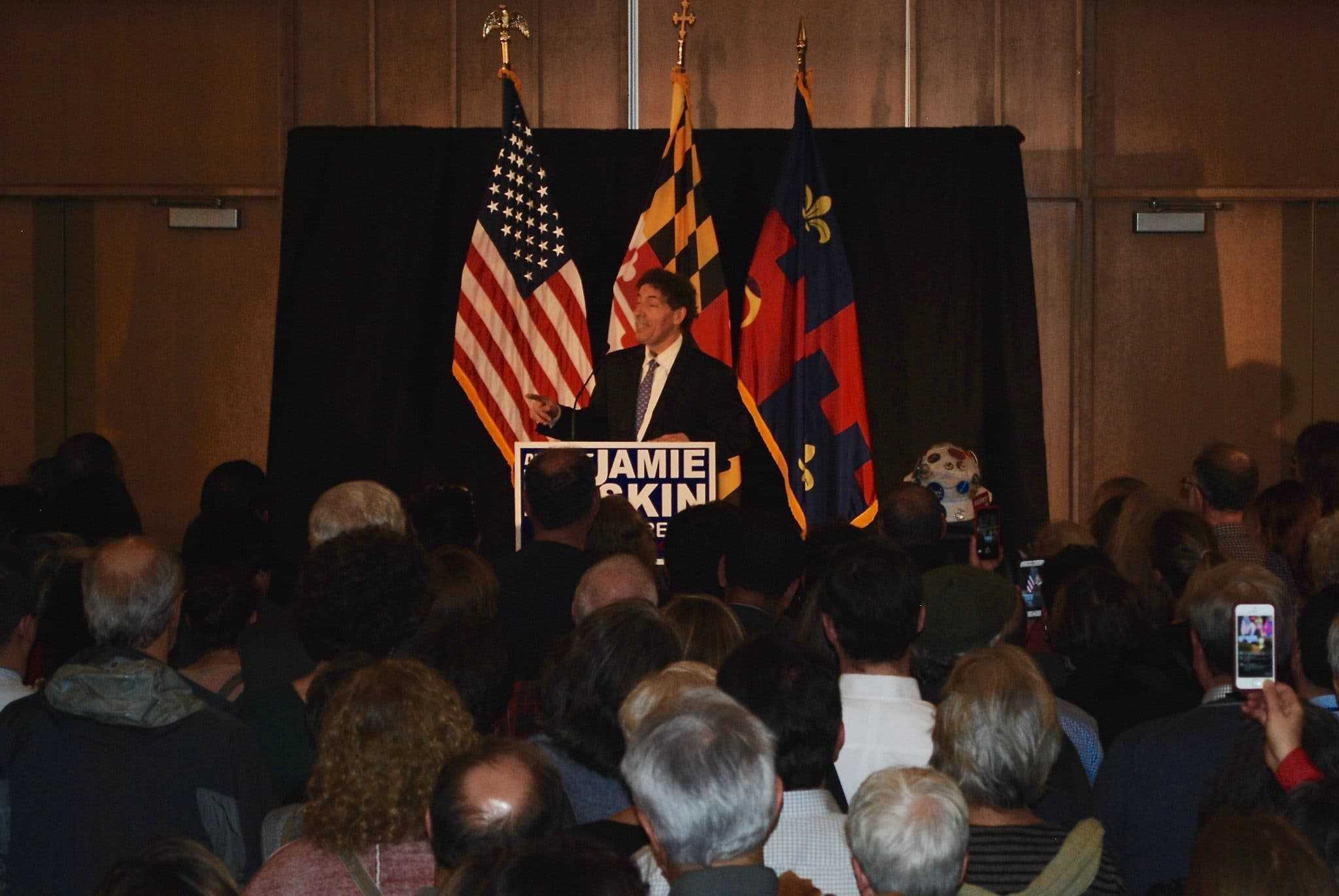 """Raskin rally held in Silver Spring - U.S. Rep.-elect Jamie Raskin (D-District 8) spoke to an overflow crowd Nov. 30 at the Silver Spring Civic Building. Billed as a """"political strategy session"""" as well as a fundraiser, the event also featured U.S. Rep.-elects Pramila Jayapal (D-Washington) and Donald McEachin (D-Virginia) and was headlined by Massachusetts Sen. Elizabeth Warren. (Photo by Mike Diegel)"""