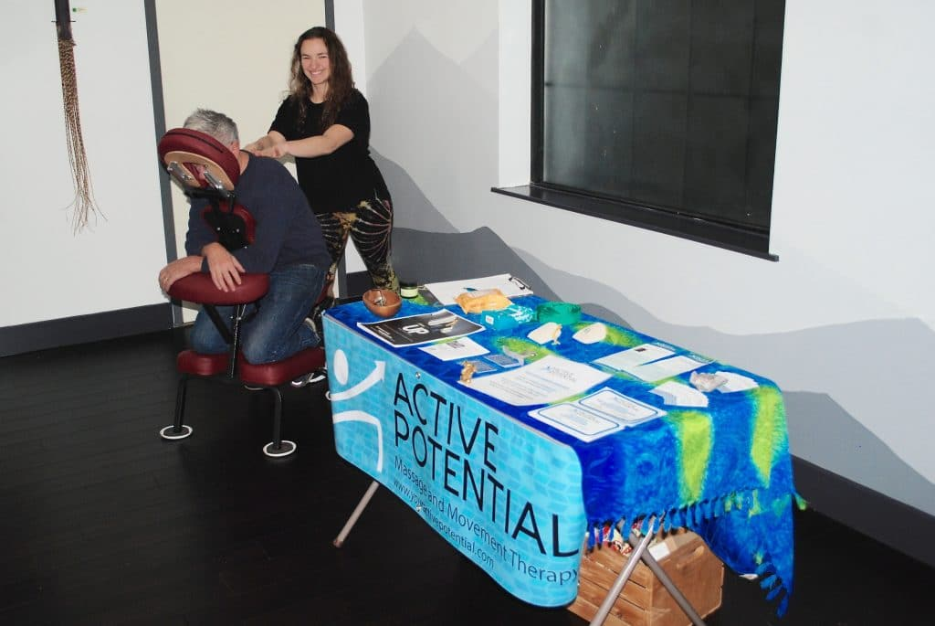 UP hosts benefit for Shepherd's Table - More than 50 people attended a benefit for Shepherd's Table Friday at UP—Healing, Wellness, Adventure, with contributions from vendor and ticket sales of more than $500 and counting going to the organization that serves the homeless.