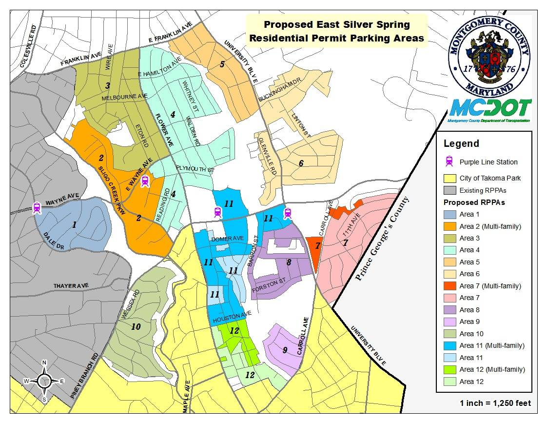 County holds public hearing on Purple Line parking restrictions proposal - The county's Department of Transportation held a hearing last night on a proposal to create 12 new Residential Permit Parking Areas in East Silver Spring.