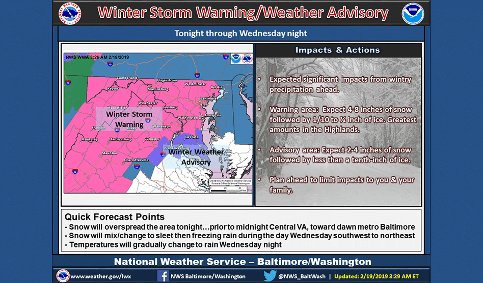 Winter Storm Warning Issued for Wednesday