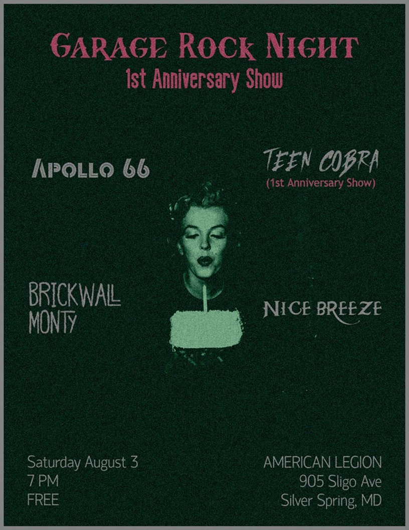 Garage Rock Night Anniversary show with Apollo 66, Teen Cobra, Nice Breeze and Brickwall Monty