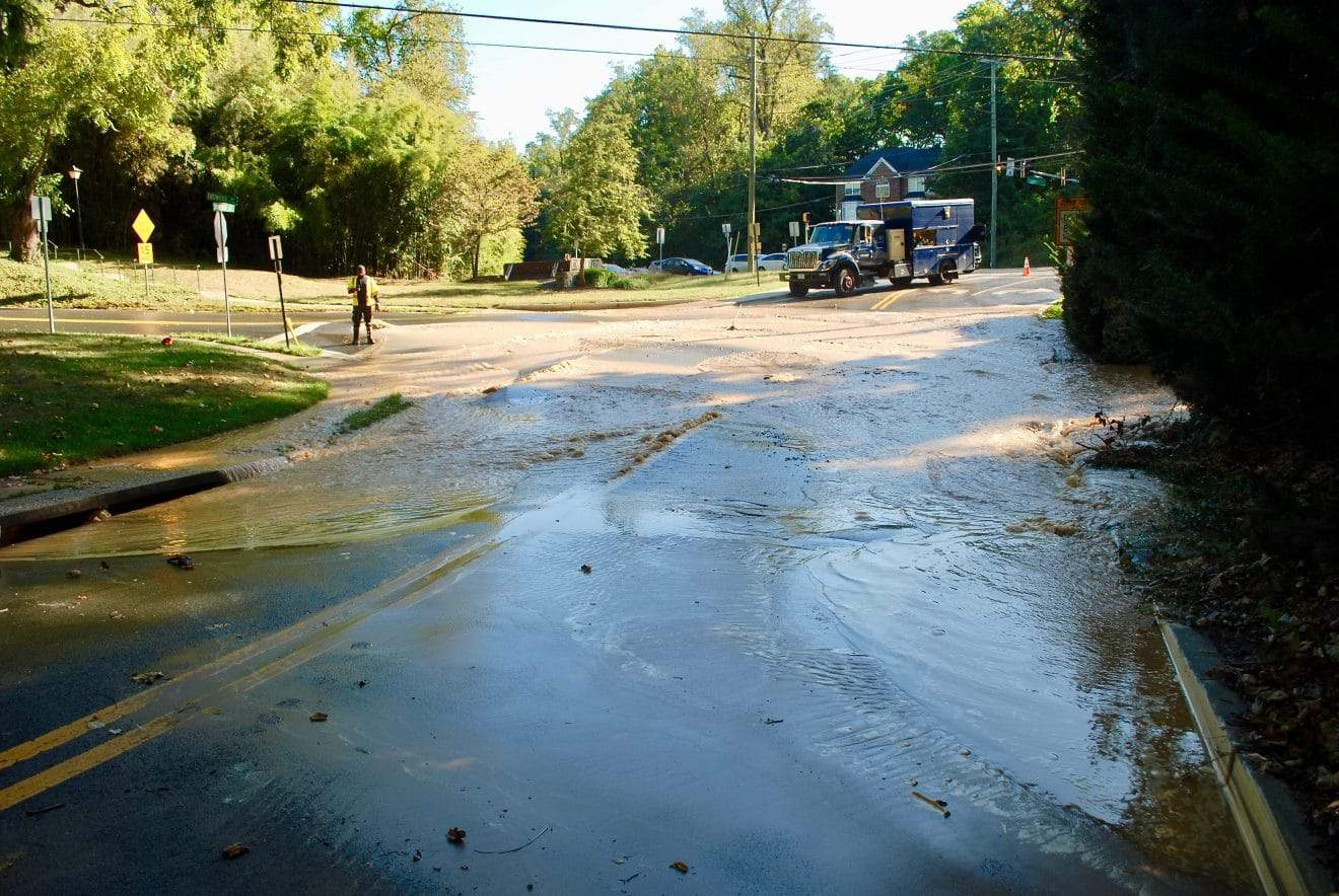 Water Main Break Disrupts Service, Closes Roads - An eight-inch water main has broken in the Northwood Park neighborhood of Four Corners, disrupting water service and closing down two roads. The break occurred around 9 a.m. this morning, according to Luis Maya, senior public communications specialist for WSSC, around 100 Southwood Ave. near Eastwood Avenue.