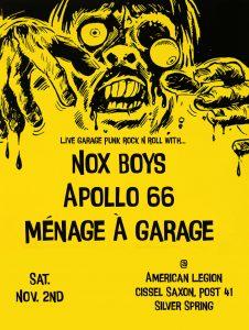Garage Rock Night with Apollo 66, The Nox Boys & Ménage À Garage!