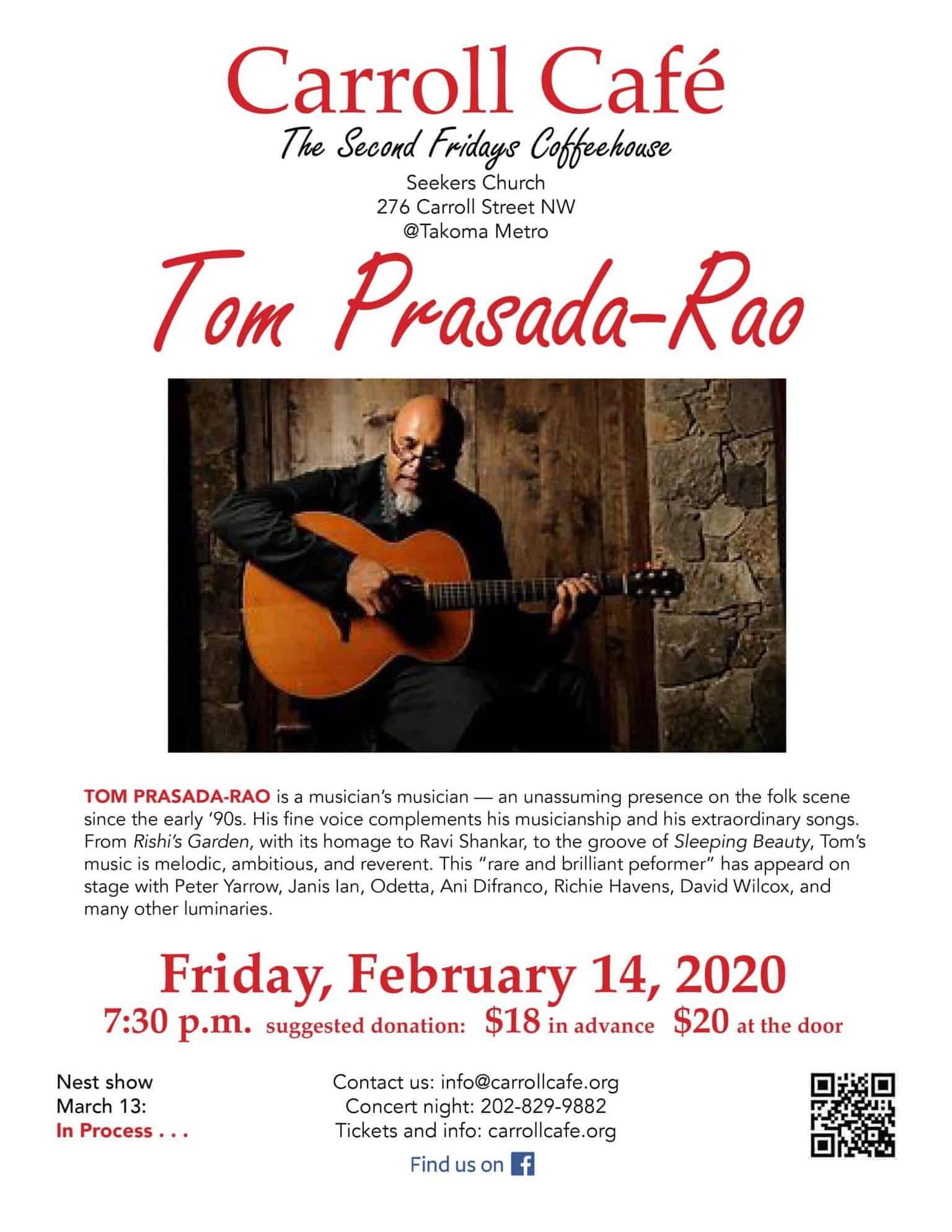 Carroll Cafe presents TOM PRASADA-RAO