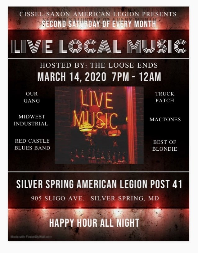 """2nd Saturday"" at the Legion- Live Local Music Night"