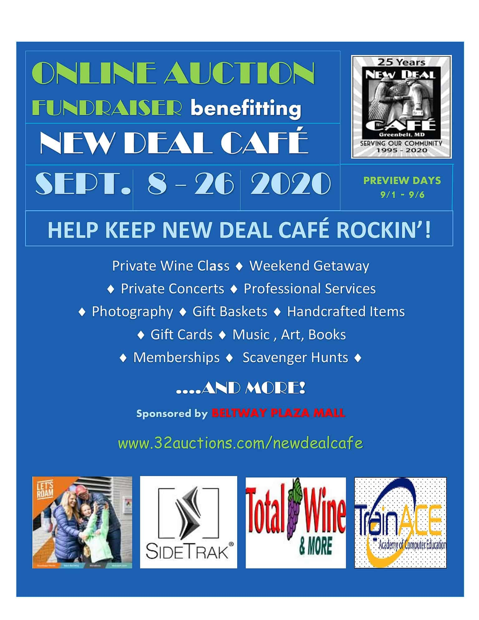 New Deal Cafe Fundraising Auction - <p>The New Deal Cafe is a community supported; member owned Cooperative. They have been hit particularly hard by the closing of the music venue on March 17th. Like so many other small businesses, they are pursuing many resources to stay viable until they can bring back live local music. This fundraiser is our way of supporting New Deal during this unprecedented time. If you have ever been to New Deal Cafe (and we know many of you have), you know that there is never a cover charge, only donations to pay the musicians. Yet, the musicians keep coming back and many have offered items for the auction like music lessons or private concerts in your backyard. We have so many amazing and eclectic items up for auction and we hope that you will all check out the preview from 9/1 - 9/5 at: www.32auctions.com/newdealcafe. We know you will be back to bid on something you just cannot live without. Every dollar raised goes to the New Deal Cafe so we can keep it rockin' for years to come.</p>