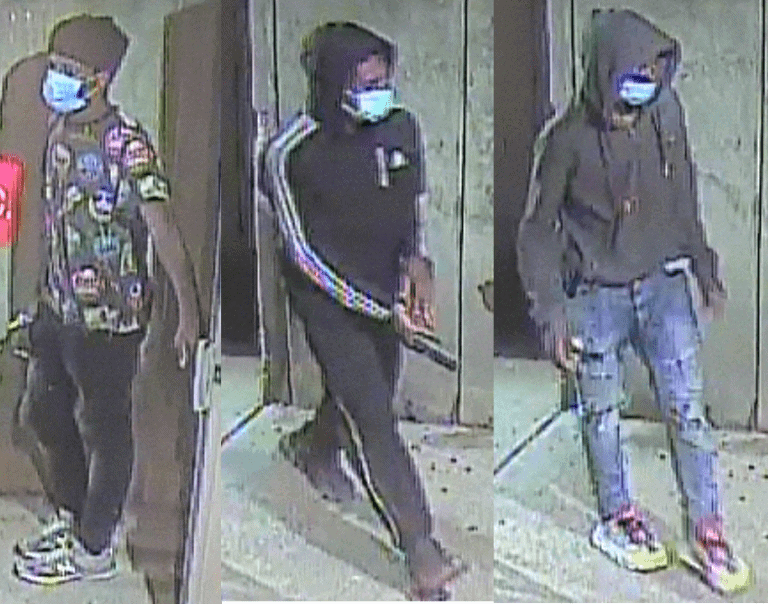 Detectives Seek Public Help to Identify Armed Robbery Suspects - Detectives from the Montgomery County Department of Police – 3rd District Investigative Section are seeking public help to identify three suspects in an armed robbery in downtown Silver Spring. The incident occurred shortly before 10 p.m. on Aug. 27 in the 8800 block of Colesville Road. The victim, a 61-year-old man, reported that he was entering his apartment building when the suspects, one of whom had a handgun, approached him.