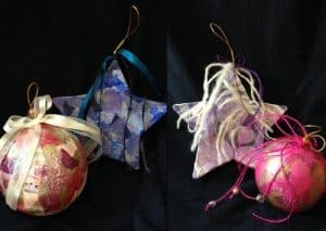 Events - Create a pair of unique collage ornaments to give as gifts, display for the holidays, or hang in your home all year round. Choose from a selection of colorful, textured papers to layer onto papier-mâché forms that will be transformed into your own designs.