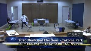 Takoma Park Livestreaming Election Ballot Intake Process - In an effort to provide greater transparency and foster trust in the elections, The City of Takoma Park elections officials are now livestreaming their ballot intake process.